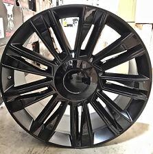 22 Cadillac 2017 Style Rims Pirelli AS Tires Satin Black Wheels Fit Escalade GMC