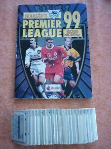 COMPLETE FULL SET MERLIN Premier League 99 UNUSED stickers + EMPTY ALBUM 1999