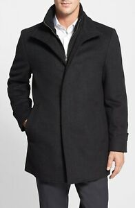 $500 CARDINAL OF CANADA WOOL BLEND DOUBLE MOCK NECK CAR COAT IN CHARCOAL SIZE XL