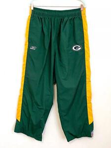 Reebok NFL Team Apparel Green Bay Packers Nylon Windbreaker Pants Size XL