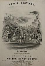 Antique Print, Front Cover Sheet Music, Quadrilles Bonnie Scotland, Arthur Brown