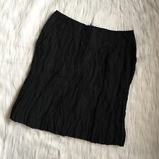 Garnet Hill 4 Small Black Textured A Line Skirt Pockets Metallic NEW High Waist