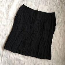 Garnet Hill - Black Textured A Line Skirt - Pockets - Metallic - New - Sz 4 28 W