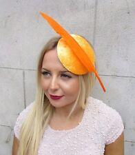 Orange Décoration Plume Cheveux Chapeau Bibi Courses Coiffe Vintage Ascot 2583