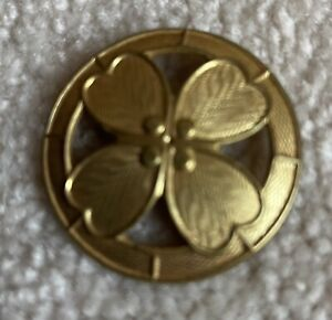 """Ex rare French brass """"Dogwood"""" Button, Early 1900s"""