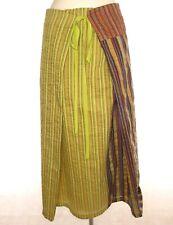 EVA & CLAUDI SILK COTTON LINEN Multicoloured Striped Skirt A Line Full Length XL