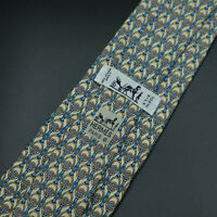 Hermes Paris Made In France Beige Horse Stirrups Pattern Silk Tie 958 IA