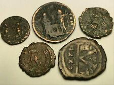 ANCIENT AUTH. 5 RARE$ Coins; 1 BYZANTINE 518 AD. 4 ROMAN 307 AD; SPEARING, GLOBE