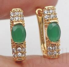 18K Gold Filled - Oval Emerald Zircon Rectangle Gemstone Cocktail Hoop Earrings