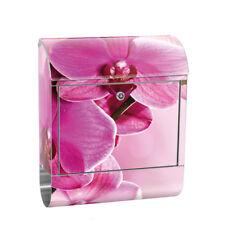 Edelstahl Wandbriefkasten XXL mit Motiv & Zeitungsrolle   Orchidee Blumen Rosa P
