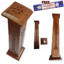 Incense Stick Burner Wood Tower Holder Ash Catcher FREE Satya Nag Champa SQUR