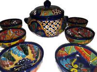 Talavera Dinnerware Plate Cobalt Blue Mexican Folk Art 12 Piece Set  You Choice