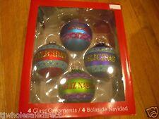 4 PK Holiday Christmas Tree Decoration Round Ball Sparkling Glass Ornament