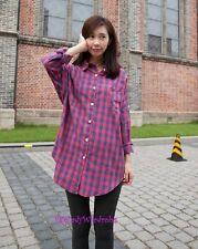 Japan Checker Boyfriend Relaxed Pocket Button Down Tunic Shirt! Pink&Blue