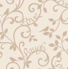 Fine Decor-fd40286-Live-Love-Rie de lujo reason Papel Pintado Cream/Dorado