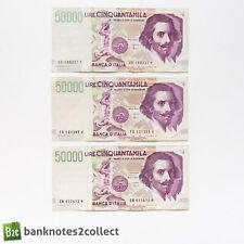 ITALY: 3 x 50,000 Italian Lira Banknotes.