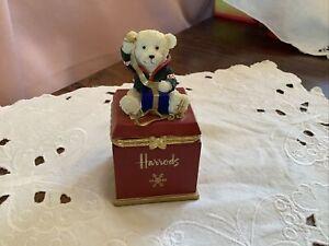 Vintage Harrods Christmas Teddy Bear Topped Gift / Trinket Box