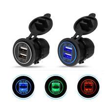 12V Dual 2.1A USB Power Fast Charger Port Car Cigarette Lighter Socket LED Light
