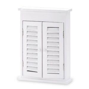 Shabby Chic White Wooden Key Box Holder Cabinet Wallmounted Box 9 Keys Hooks