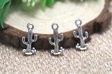 30pcs- cactus Charms Antique Tibetan silver cactus charm pendants 20x9mm