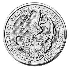 2 oz Silber Queen's Beasts Red Dragon of Wales Großbritannien 2017 Stempelglanz