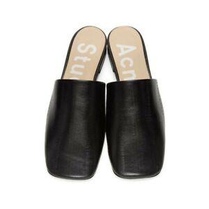 ACNE STUDIOS BLACK TESSEY EEL SLIPPERS Size 37