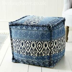 Large 40cm x 40cm Cube Shaped Fabric Foot Cushion - Blue