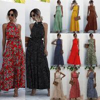 Women Boho Floral Long Maxi Dress Summer Beach Evening Party Cocktail Sundress