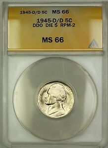 1945-D/D RPM-2 DDO DIE 5 Wartime Silver Jefferson Nickel 5c Coin ANACS MS-66 (E)