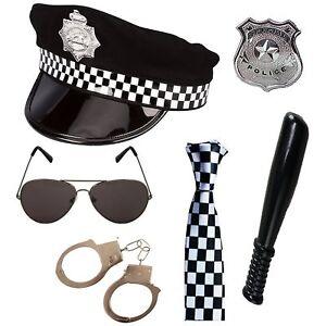 Adult Unisex Police Set Hat, Tie, Badge, Truncheon, HandCuffs & Sunglasses UK
