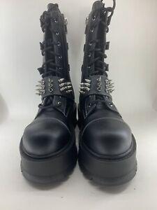 "Pleaser Demonia 2"" Pf Lace Up Mid Calf Boots Side Zip Adult Women Slacker/165"