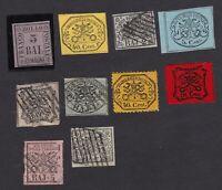 Stato Pontificio lotto francobolli 5 annullati e 5 nuovi