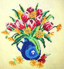 FIORI estivi Tulip Fatto A Mano Finito Cross Stitch Arazzo il Cucito Arte Regalo