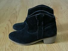 Next Ladies Heeled Cowboy Ankle Boots Black Suede Size 5 / 38