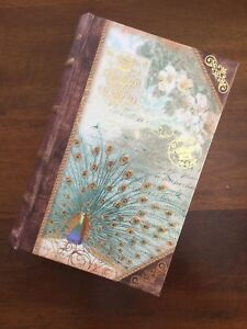 PEACOCK. STASH BOX. FAUX BOOK BOX. PEACOCK. LOVE. FEATHERS. NEW. DECOUPAGE. GIFT