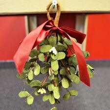 Mistletoe Kit with Red Bow and Cream Pip Berries Primitive Country Holiday New