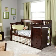 4 In 1 Convertible Cribs Changing Table Combo Baby Nursery Bed Brown Furniture