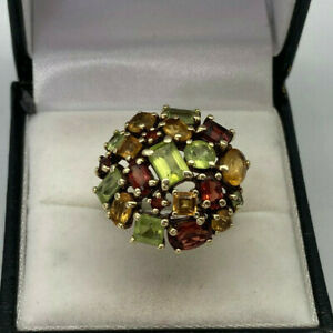 9ct Gold Hallmarked Multi Stone Cluster Ring.  Goldmine Jewellers.