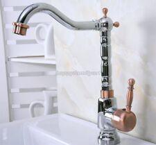 Chrome Antique Red Copper Bath Kitchen Sink Swivel Spout Faucet Mixer Tap ynf916