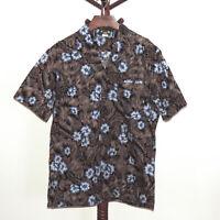 Hawaii Blues size L Short Sleeve Floral Button Front Hawaiian Aloha Shirt USA