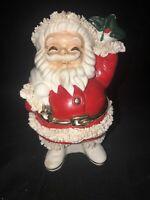 Vintage Lefton Christmas Santa Bank Holly Berry Gold Gilted Belt Spaghetti Trim