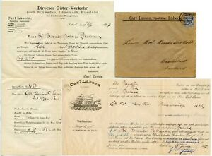 GERMANY 1897 to FINLAND PRINTED ENV. CARL LASSEN LUBECK + ILLUST. SHIP DOCUMENTS