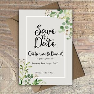 Personalised Save the Date Wedding Cards GREY/GREEN FLORAL packs of 10