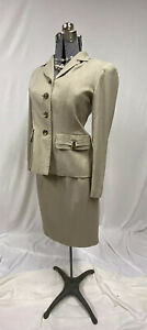 Kasper Womens Petite Beige Linen Skirt Suit Size 4P Business Professional Career