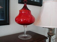 """Large 13"""" Vintage Mid-Century 50's 60's Red Apothecary Glass Jar Candy Art Lid"""