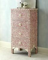 Handmade Bone Inlay Pink Floral Tallboy Chest of Drawer