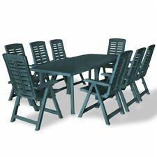 vidaXL Set Comedor Jardín 9 Piezas 210x96x72cm Verde Mesa Silla Mueble Cocina