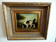 ANTIQUE OIL PAINTING SHEPARD DOG NAILED ON CANVAS SIGNED  HEAVY GOLD GILT FRAME