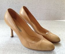 Manolo Blahnik Women's Beige Camel Leather Heels Size 39.5 Handmade
