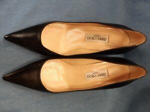 Jimmy Choo Ladies Black Leather Kitten Heels